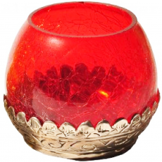 Teelicht Lampe Glas rot, Farbe: Rot, image