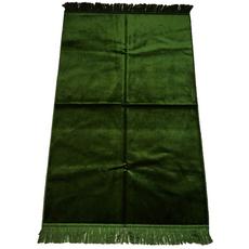 Gebetsteppich in verschiedenen Farben - seidenglänzend, unifarben, ohne Muster, schlicht, 110x71 cm, Bordeaux, Rot, Farbe: Grün, Maße (cm): 110 x 71, image